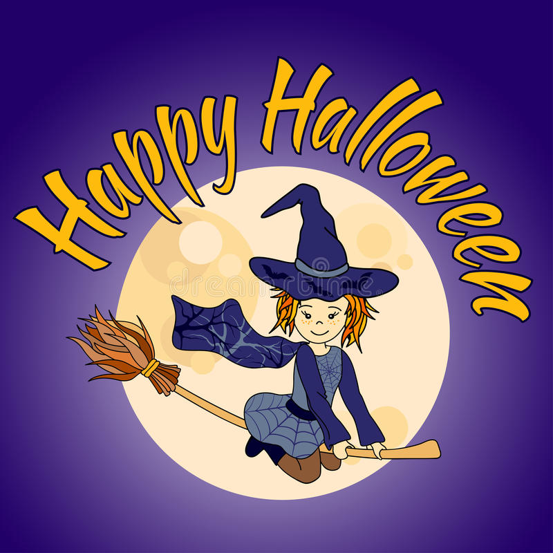 Download Cute Little Witch Flying   Happy Halloween Card Stock Vector    Illustration Of Costume,