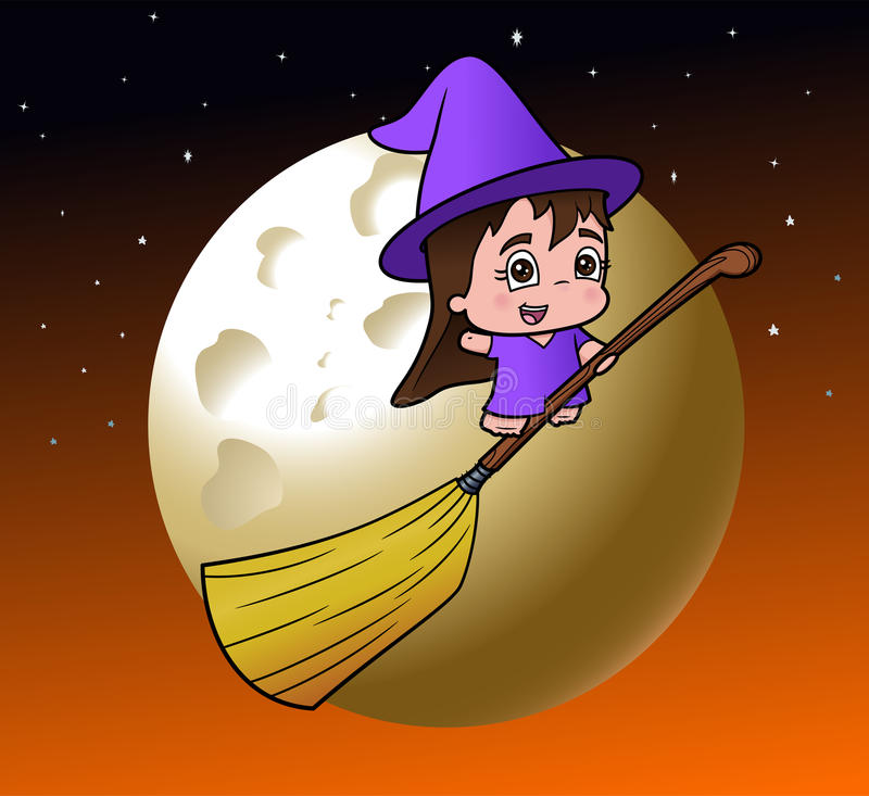 Download Cute Little Witch Girl On A Broom Stock Photos - Image: 21767433
