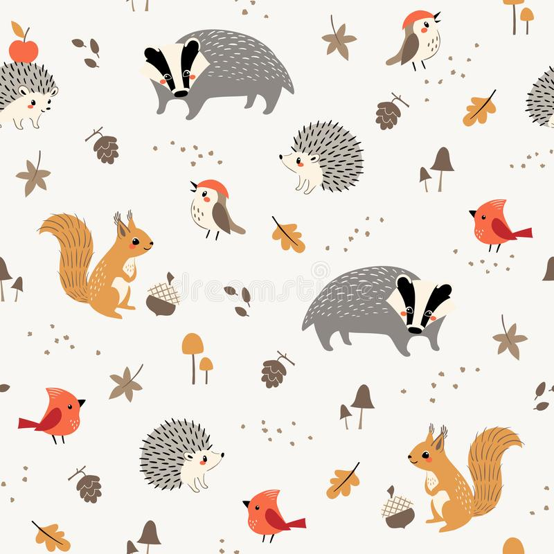 Cute little woodland animals and birds pattern vector illustration