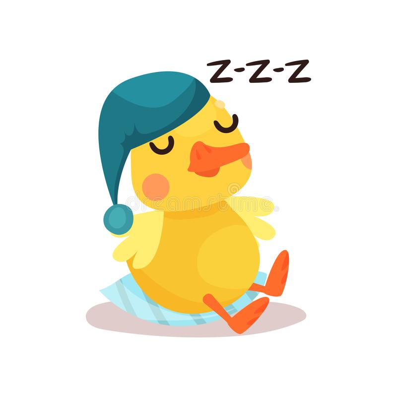 Cute little yellow duck chick character in a blue hat sleeping cartoon vector Illustration stock illustration