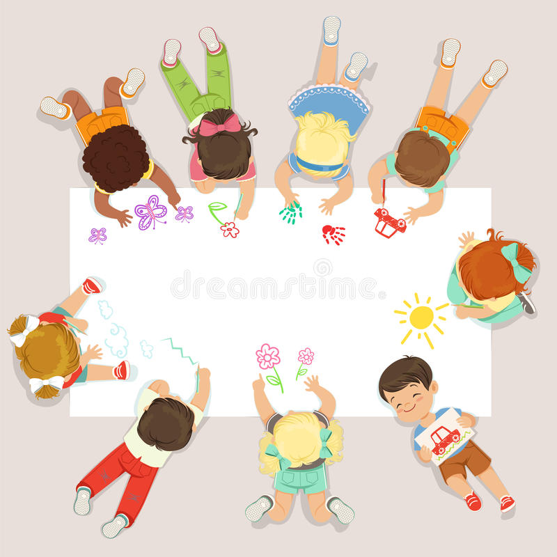 Cute litttle kids lying and drawing on big paper. Cartoon detailed colorful Illustration stock illustration