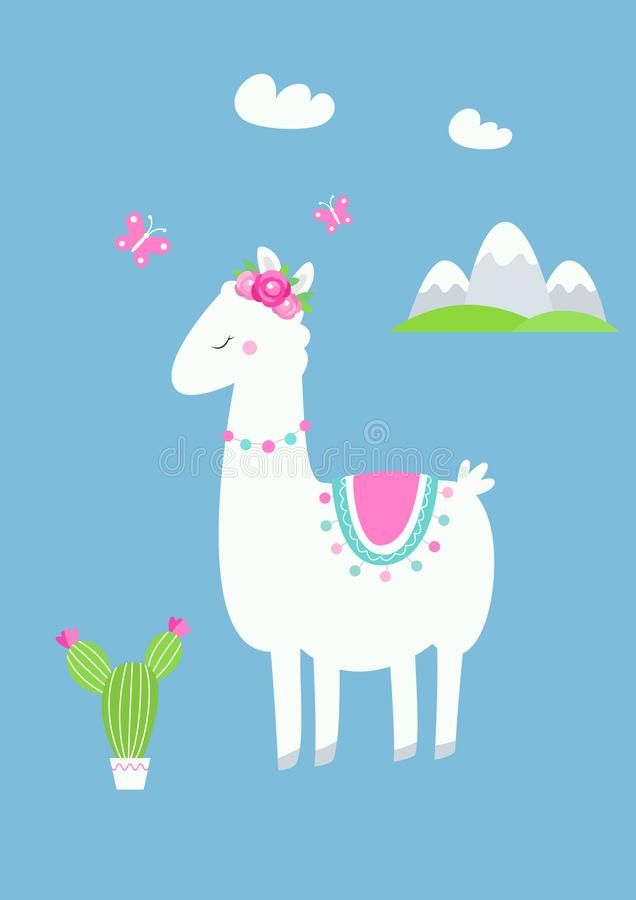 Cute Llama or Alpaca with Cactus, Flowers and Mountains Vector Illustration royalty free illustration