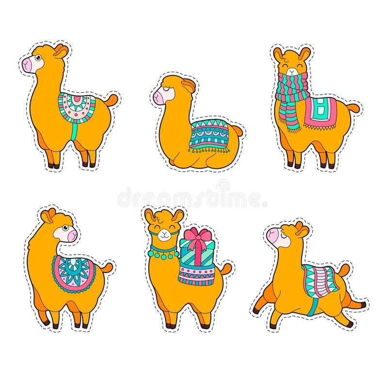 Cute llama and alpaca sticker. Cartoon lama character summer vector illustration. stock illustration