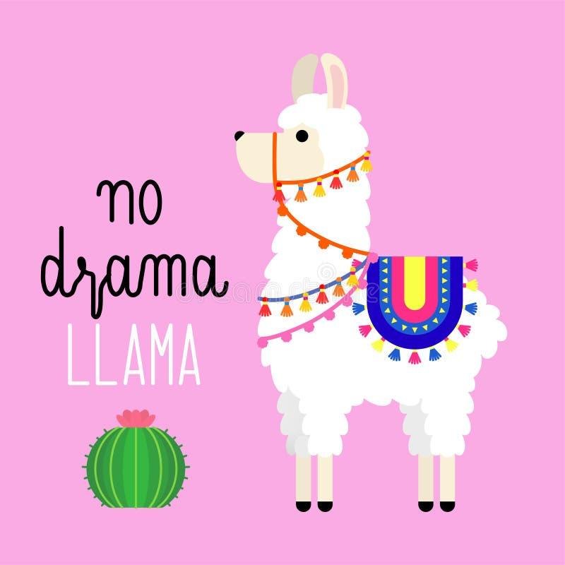 Cute llama alpaca vector graphic design with an inspirational quote no drama llama. Llama character illustration for nursery desig royalty free illustration
