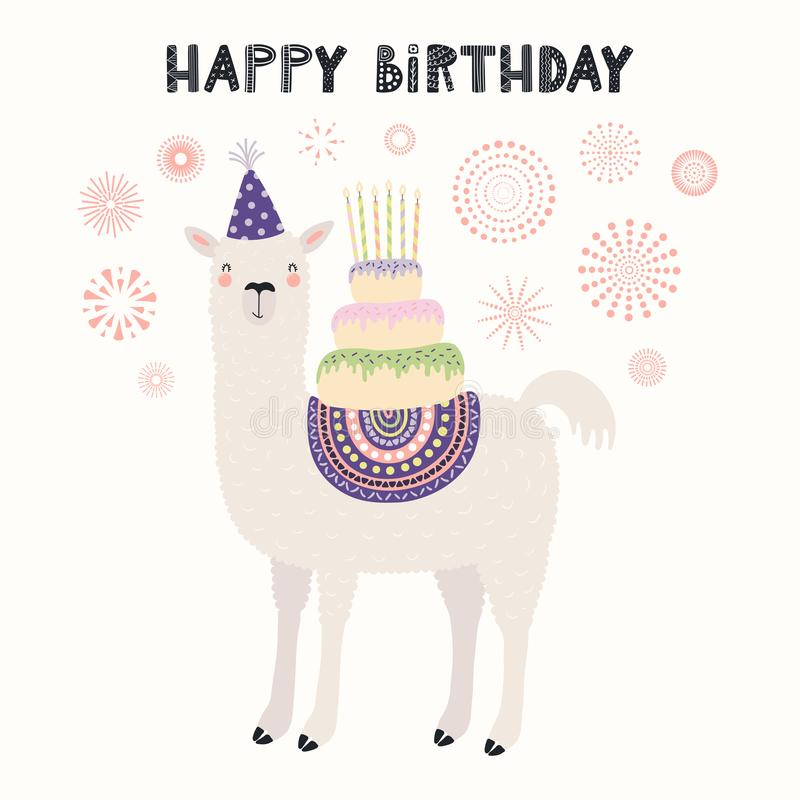 Cute llama birthday card royalty free illustration