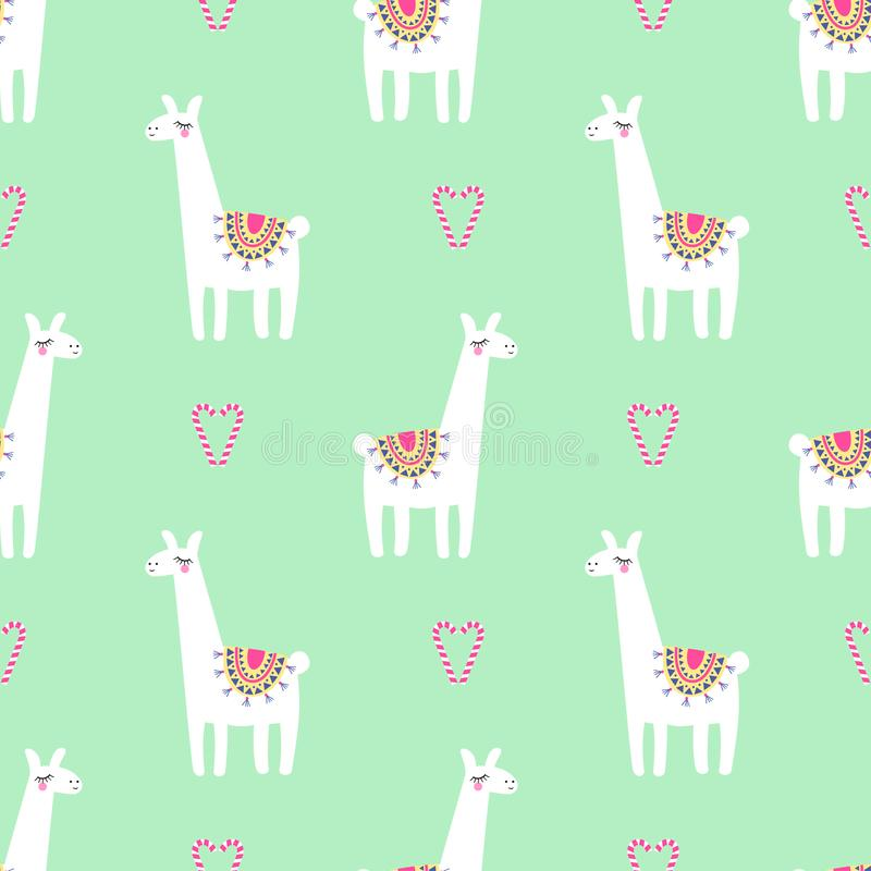 Cute llama with candy cane heart seamless pattern on mint green background. stock illustration