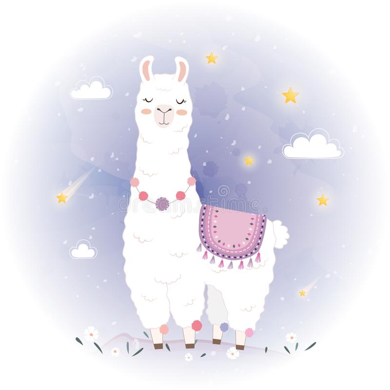 Cute Llama design with Meteor royalty free stock photos