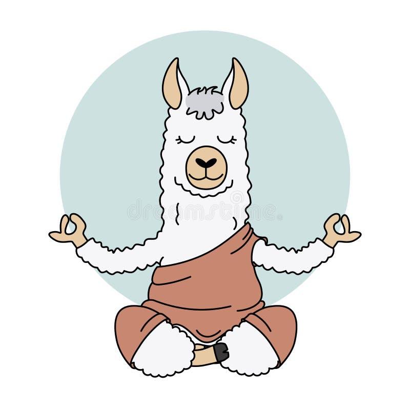 Cute llama doing yoga. Vector isolated royalty free illustration