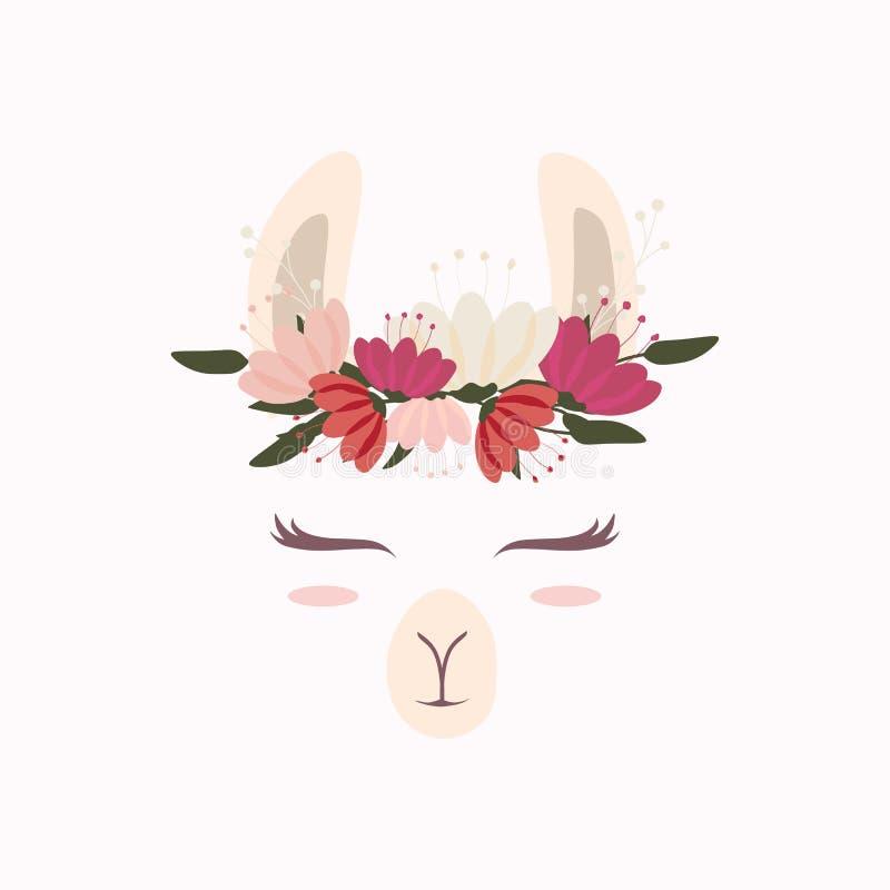 Cute llama head with beautiful flower crown stock illustration