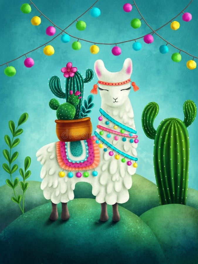 Download Cute llama stock illustration. Illustration of cactus - 115326735