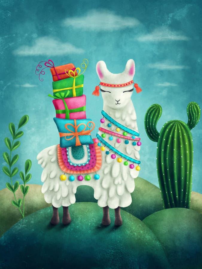 Cute llama. Illustration of a cute llama stock illustration