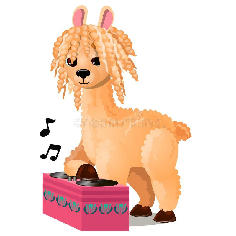 Cute llama or lama glama listening to music isolated on white background. Vector cartoon close-up illustration. stock illustration