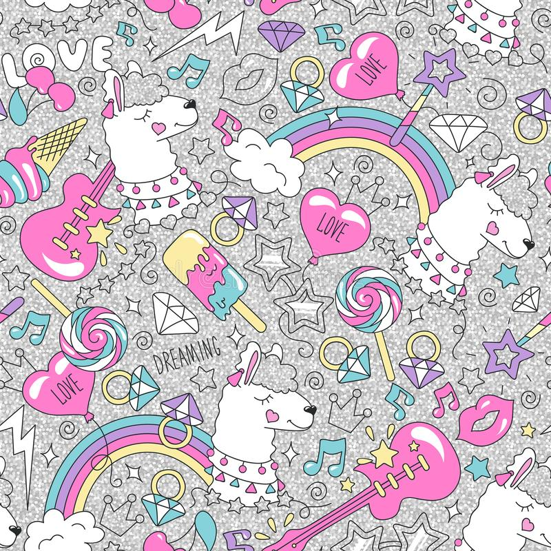 Cute llama pattern on a glitter background. Colorful trendy seamless pattern. Fashion illustration drawing in modern style for clo. Thes. Drawing for kids vector illustration