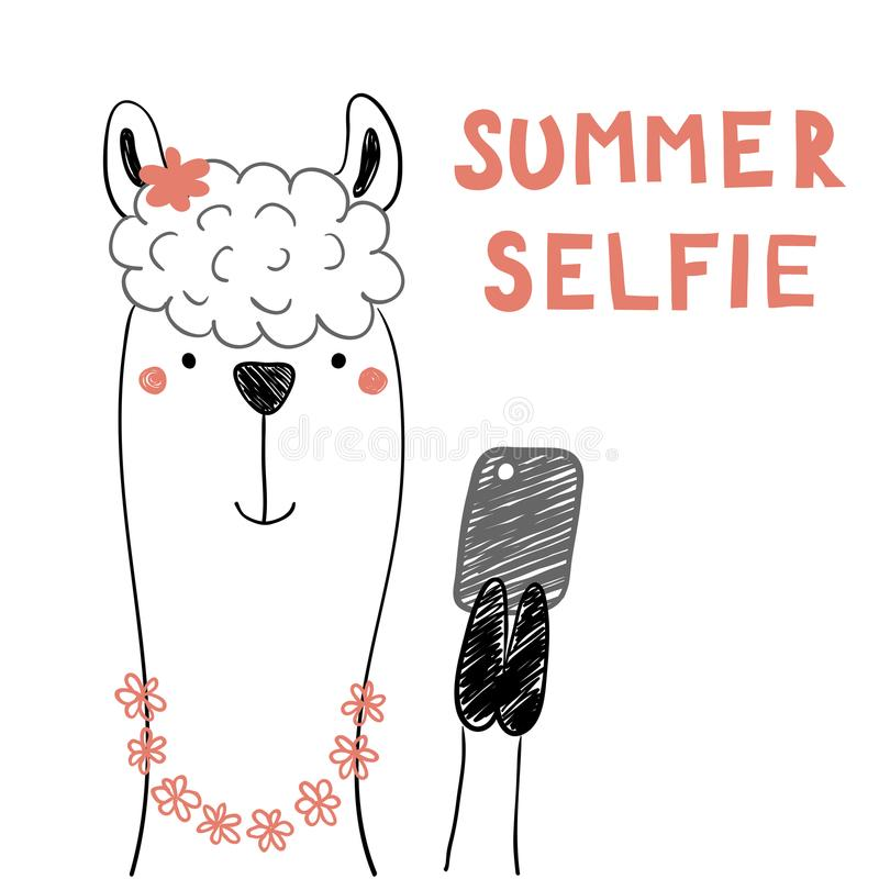 Cute llama with a smart phone royalty free illustration