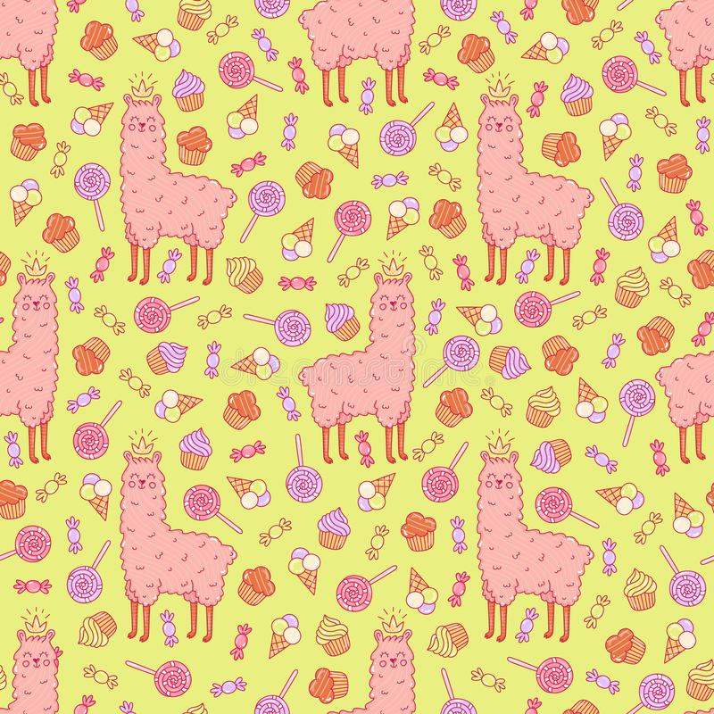 Cute llama and sweets seamless vector pattern. royalty free illustration