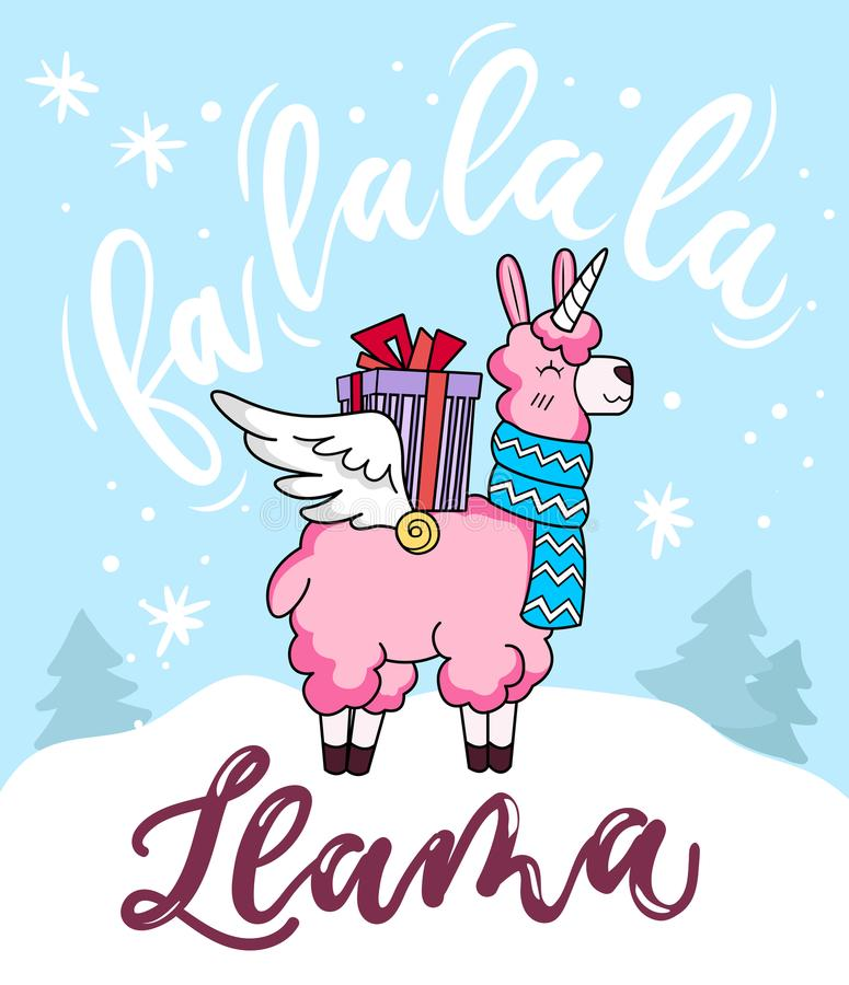 Cute llama unicorn Christmas greeting card with lettering inscription 'Fa la la la llama' and doodles. New Year greeting card. vector illustration