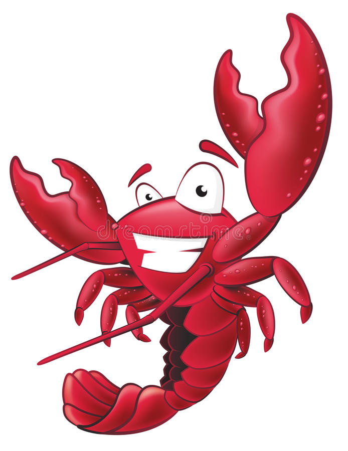 Cute Lobster Character. Great illustration of a happy lobster waving his pincers in the air stock illustration