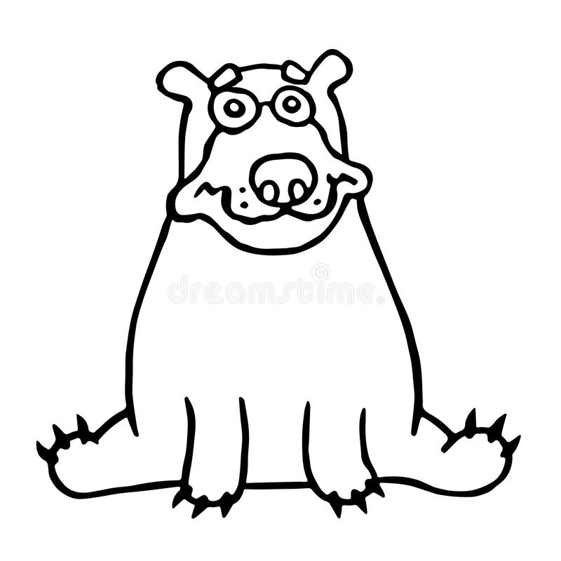 Cute lonely bear sitting and looking. Vector illustration. stock photos