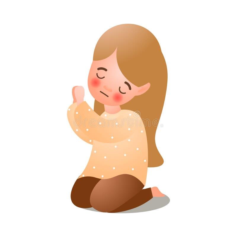 Cute long hair girl give prayer to God royalty free illustration