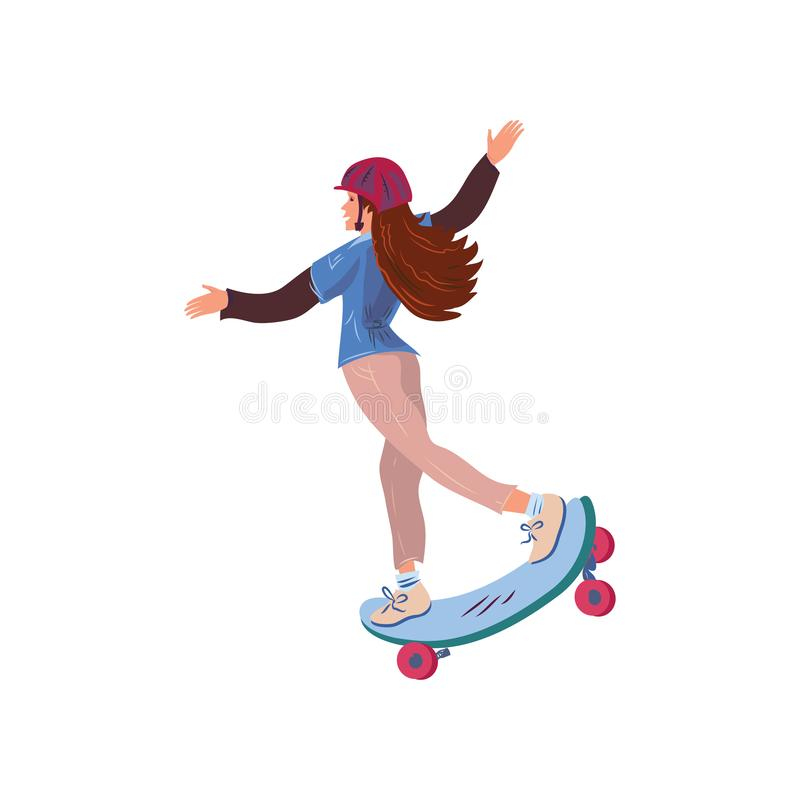 Cute long hair girl with helmet riding skateboard. Cute long hair girl with helmet riding blue skateboard. Cartoon style. Vector illustration on white background vector illustration
