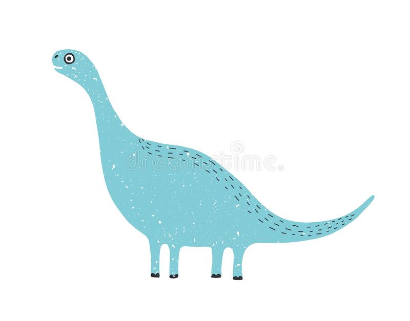 Cute long-necked dinosaur isolated on white background. Blue adorable diplodocus. Funny extinct animal. Amusing wild. Prehistoric reptile. Bright colored vector stock illustration