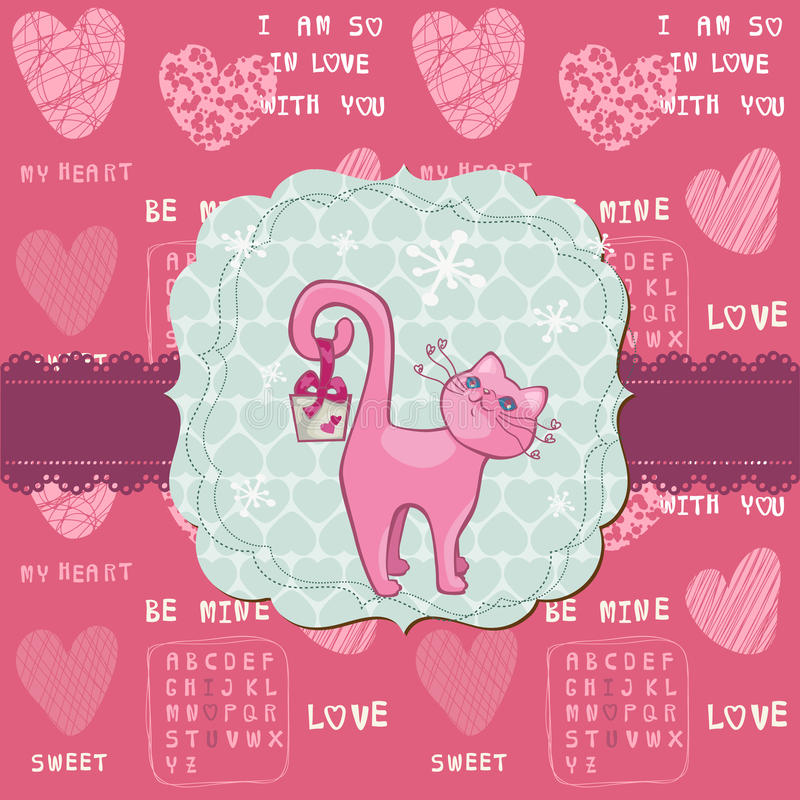 Download Cute Love Card With Cat - For Valentine's Day Stock Vector - Image: 24663931