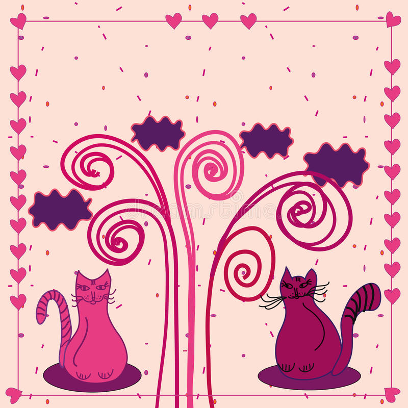 Download Cute love card with cats stock vector. Image of colorful - 12186923