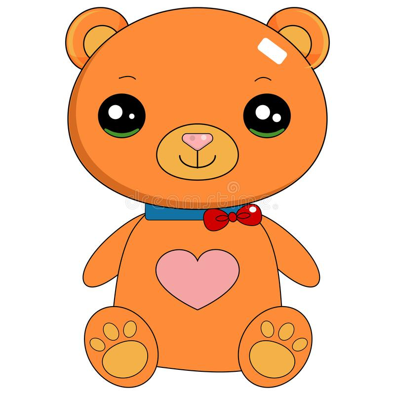 Cute in loved teddy bear. In loved cute teddy bear, isolated on white background. I love U. AI format available royalty free illustration