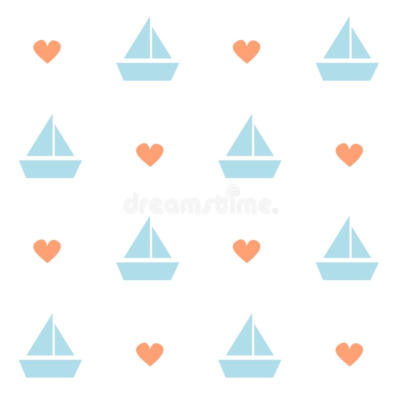 Cute lovely boat with heart seamless vector pattern background illustration. Cute lovely boat with heart seamless pattern background illustration stock illustration