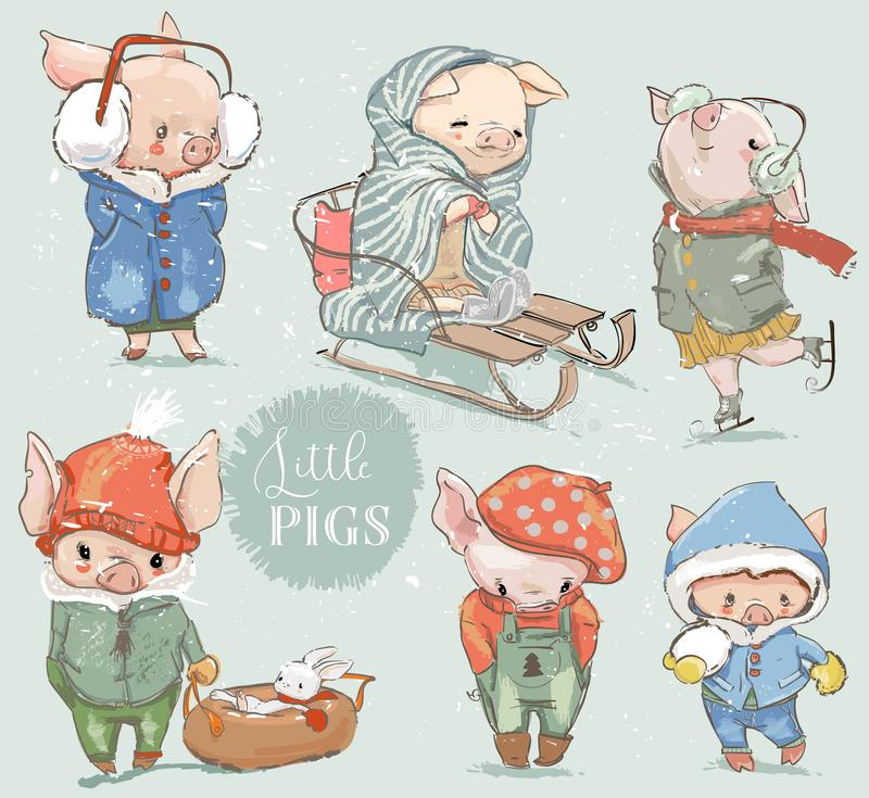 Cute lovely cartoon pigs vector collection. Cute lovely cartoon pig with snowman. Vector collection royalty free illustration