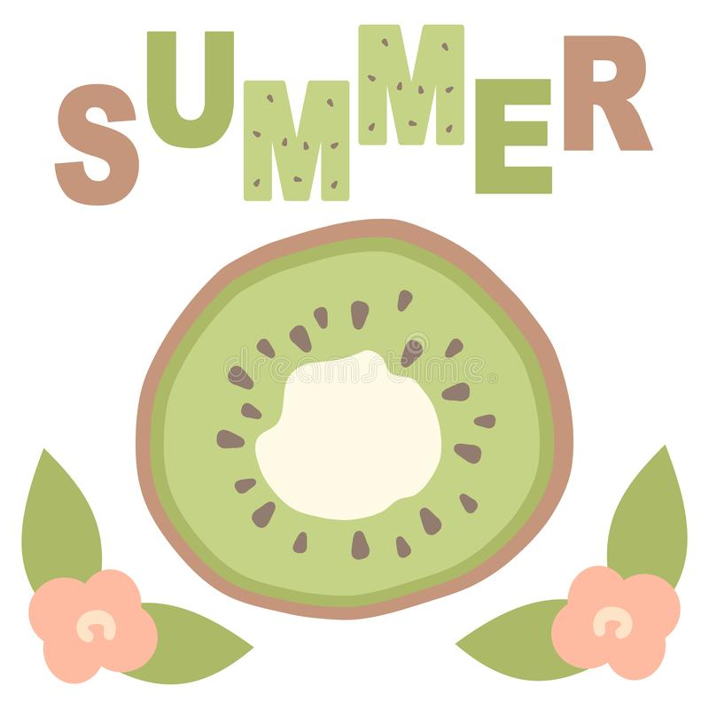 Cute lovely cartoon vector summer card with hand drawn kiwi slice and flowers. Cute lovely cartoon summer card with hand drawn kiwi slice and flowers vector illustration