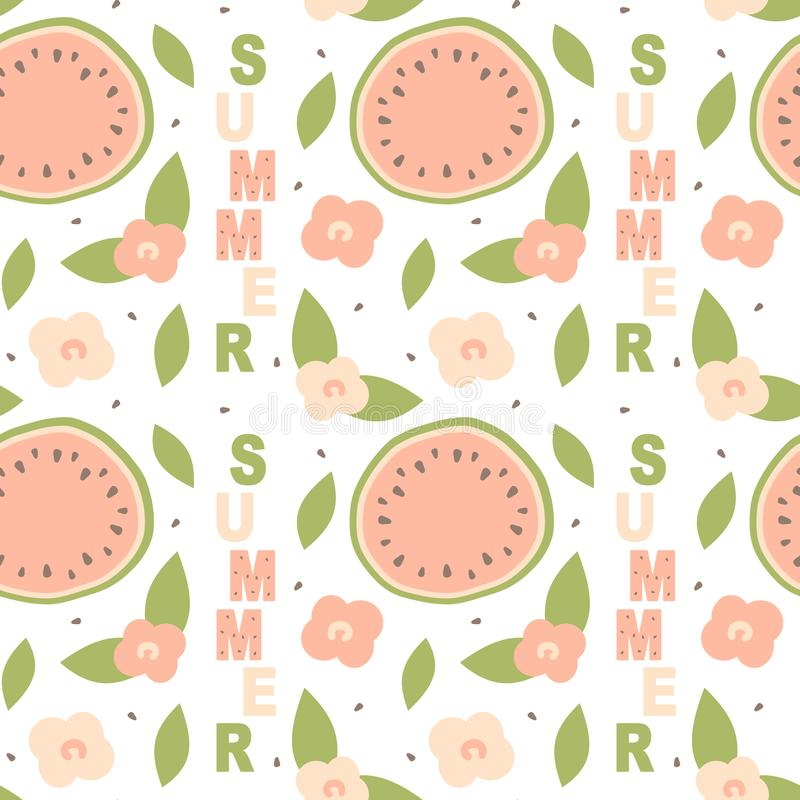 Cute lovely cartoon summer seamless vector pattern background illustration with hand drawn watermelon and flowers stock illustration