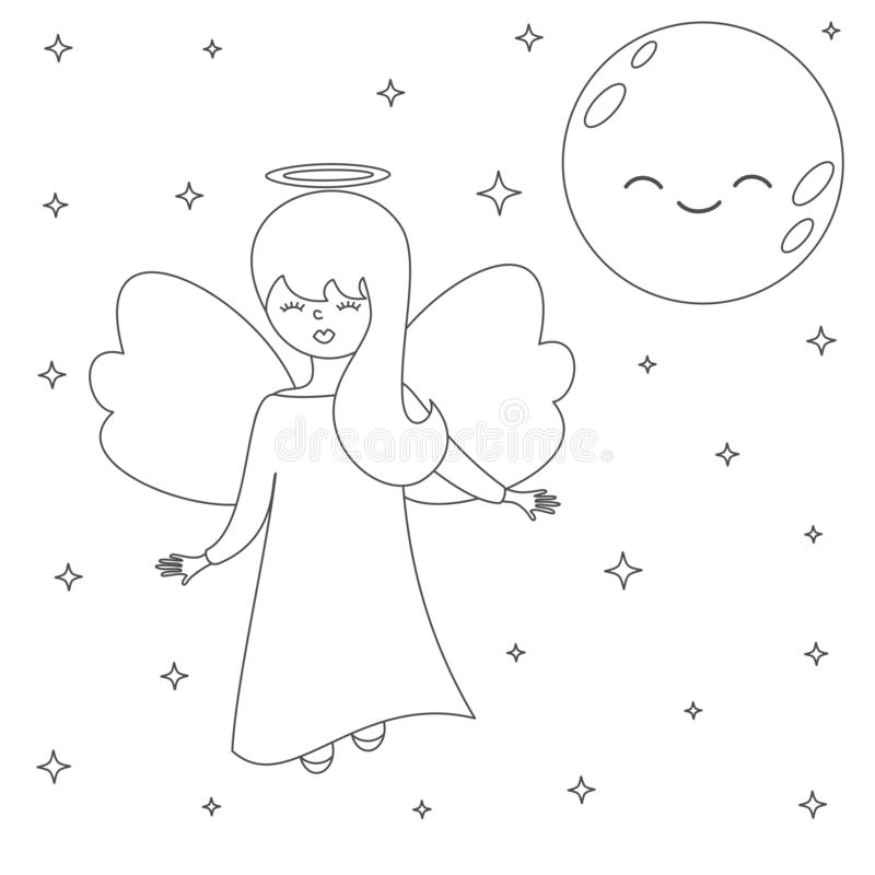 Cute lovely cartoon vector angel in the sky with moon and stars black and white illustration for coloring art royalty free illustration