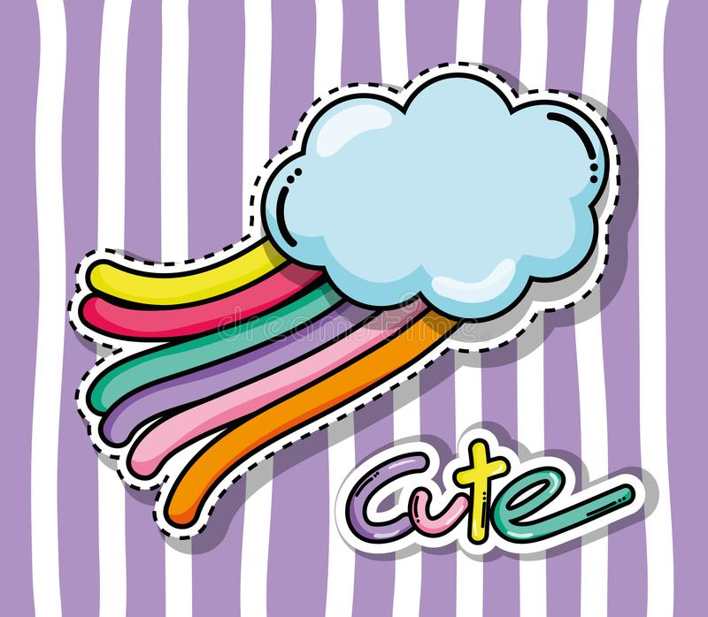 Cute and lovely cartoons. Cute and lovely cloud with rainbow cartoons vector illustration graphic design vector illustration