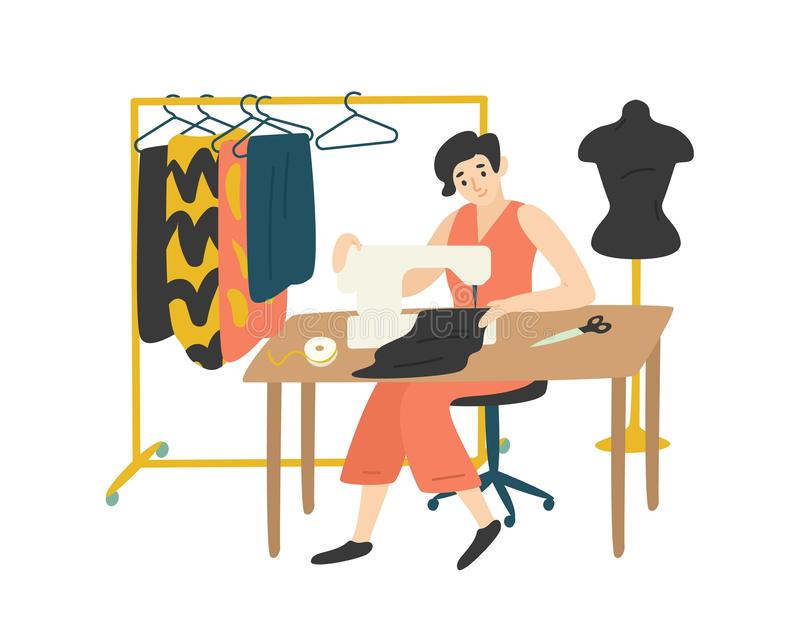 Cute lovely girl sitting at desk with sewing machine and enjoying her hobby. Fashion designer, needlewoman or seamstress. Working at home. Adorable female vector illustration