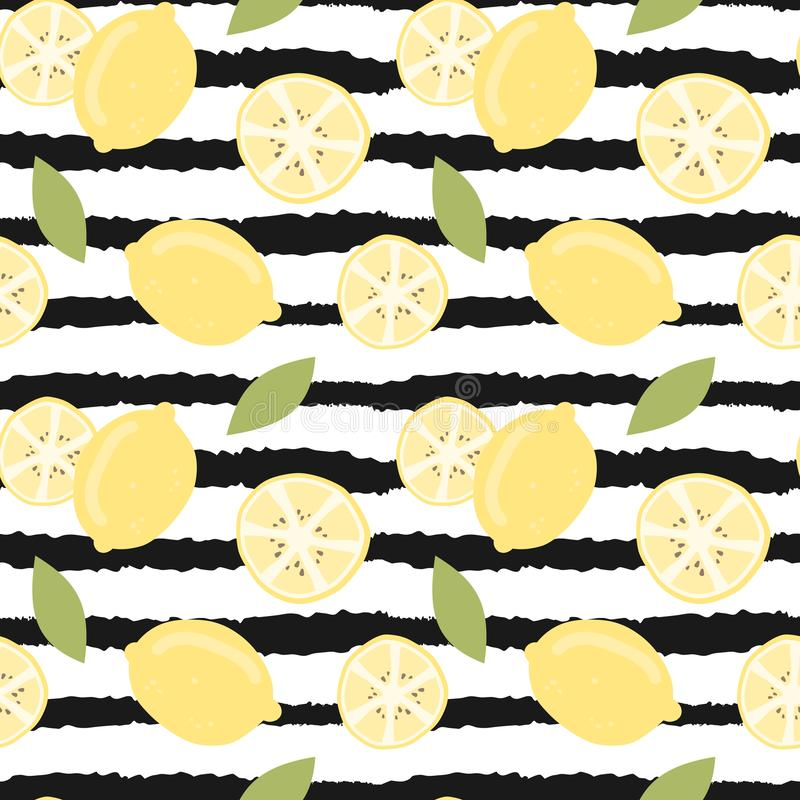 Cute lovely modern summer seamless vector pattern illustration with hand drawn lemon on black and white striped background stock illustration