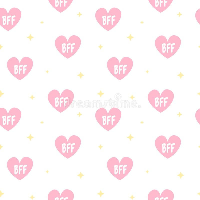 Cute lovely pink hearts with bff text seamless vector pattern background illustration vector illustration