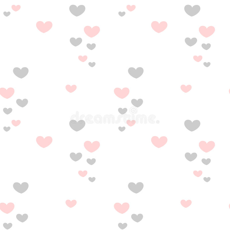 Cute lovely romantic pink and grey hearts on white background valentine seamless pattern illustration vector illustration
