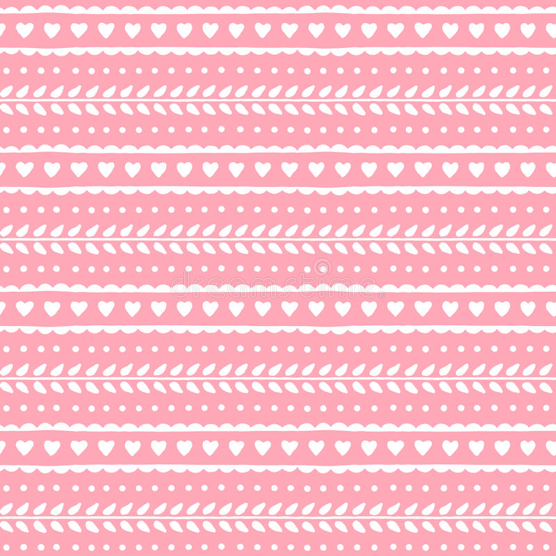 Cute lovely seamless pattern for valentine or wedding design. Hearts and leaves on soft pink background. Vector texture. vector illustration