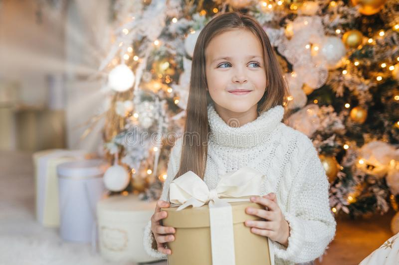Cute lovely small kid with charming appearance, glad to recieve Christmas gift, looks aside with happy expression, has intrgue wha. T present is, poses near royalty free stock photo