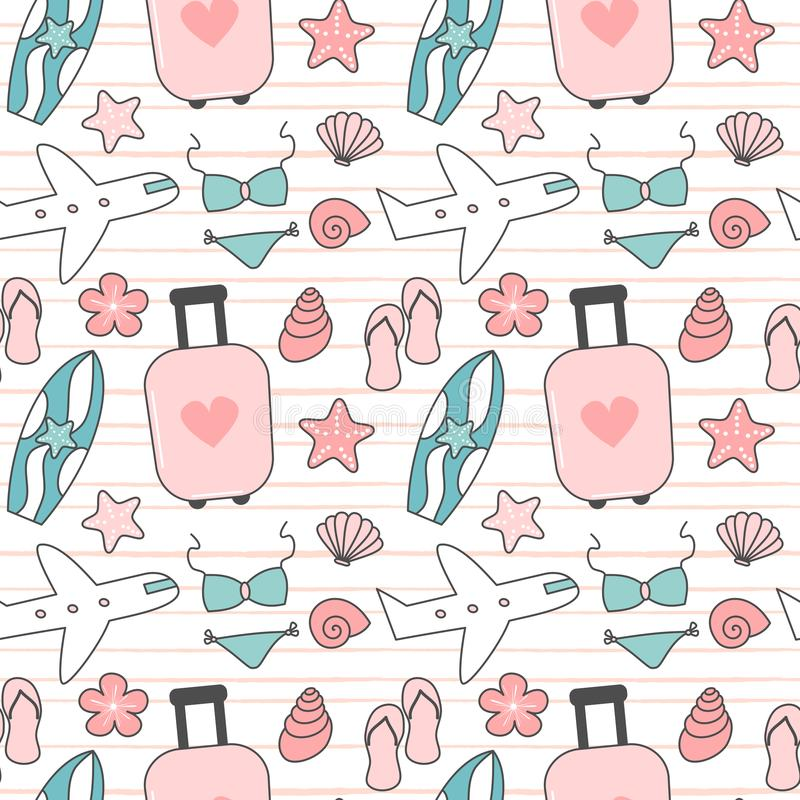 Cute lovely travel and summer seamless vector pattern background illustration with suitcase, bikini, seashells, airplane, surfboar stock illustration