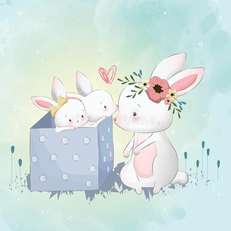 Mommy Bunny with her babies. Cute, lovely, and unique baby animal illustration for you designs vector illustration