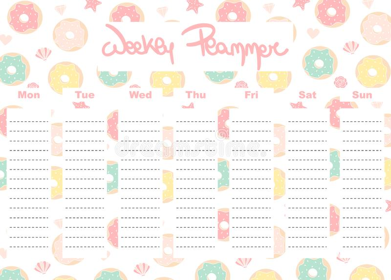 Cute lovely vector weekly planner template with colorful donuts stationery organizer for daily plans royalty free illustration