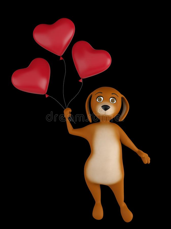 A cute lover valentine cartoon dog with a red heart baloons isolated on black background. 3d render royalty free illustration