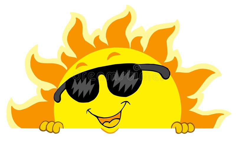 Cute Lurking Sun With Sunglasses Royalty Free Stock Photos