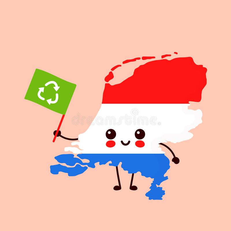 Cute lustig lächelnd glückliche kawaii Niederländische Karte lizenzfreie abbildung