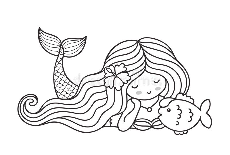 Cute Sea Characters Coloring Book Stock Vector