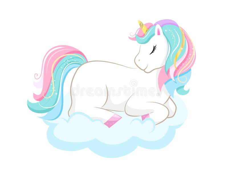 Cute magic cartoon unicorn on cloud. Illustration for children vector illustration