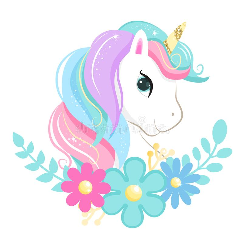 Cute magic cartoon unicorn head with flowers. Illustration for children. Isolated on white background royalty free illustration