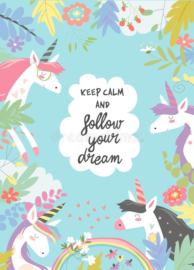 Cute magic frame composed of unicorns and flowers royalty free illustration